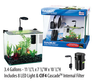 Penn Plax Curved Corner Glass Aquarium Kit 3.4 Gallon