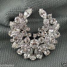 14k white Gold GF Swarovski elements solid crystals brooch pin