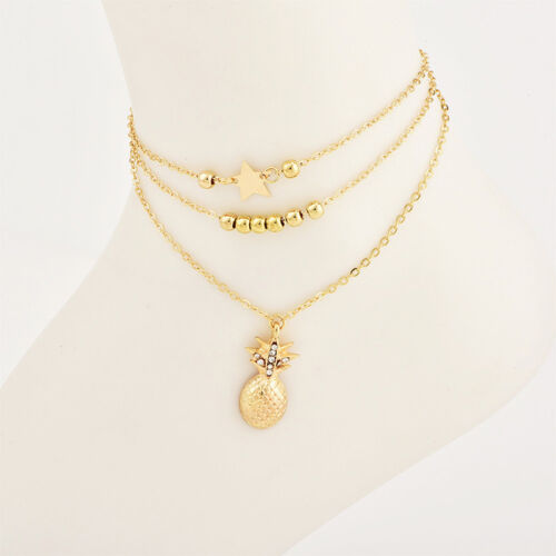 Multi-layer Pineapple Star Beads Charm Anklets Ankle Bracelet Silver Gold Tone