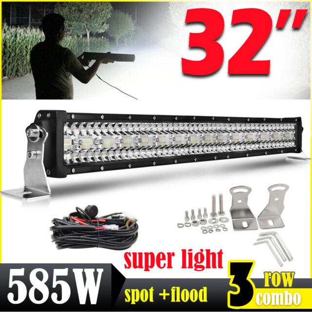 "585W 32"" Barre à LED 4x4 phare de travail Light Bar 10-30V Rampe offroad TRI Row"