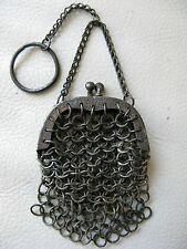 Antique Victorian French Doll Finger Ring Chatelaine Chain Mail Mesh Purse #41