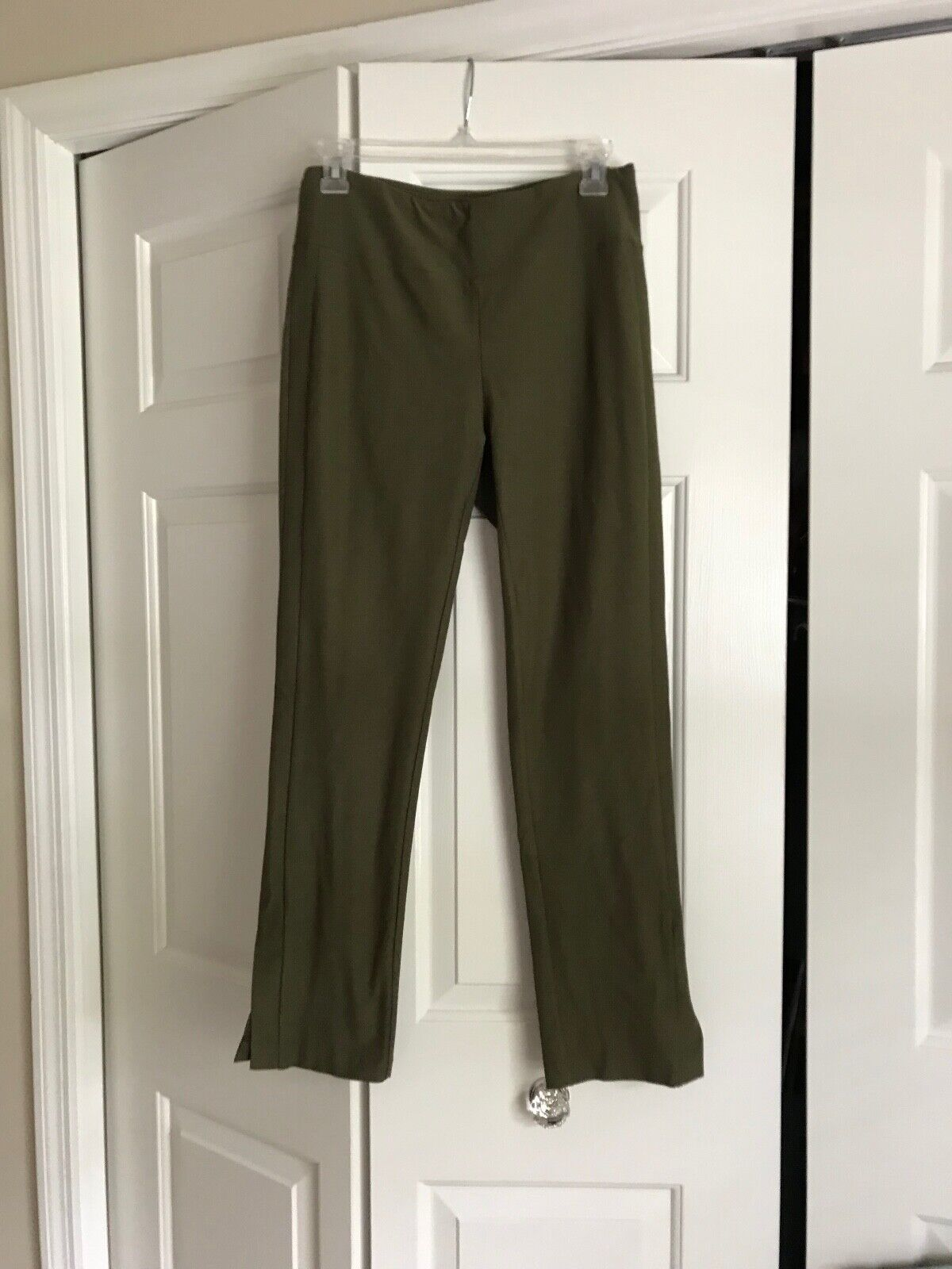 NWT Eileen Fisher Washable Stretch Crepe Green Pants W Slit At Ankle in Size XS