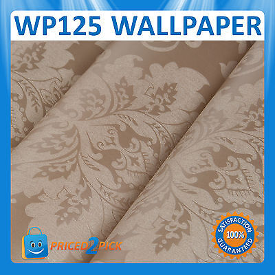 WP125 TEXTURED BROWN/BEIGE FLORAL WALLPAPER WALL PAPER ROLL FEATURE