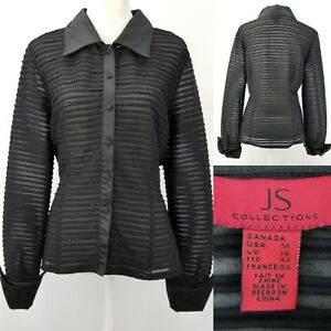 JS-Collections-Womens-14-Black-Sheer-Stripes-Beaded-Evening-Wide-Cuffs-Blouse