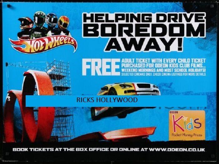 Original Británico Quad Odeon teatros Hot Wheels Niños Promo Poster