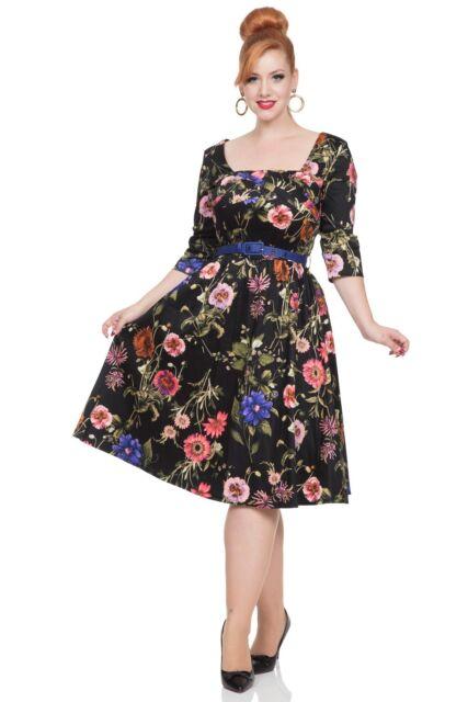 00b97a14985 Black Floral Dress Voodoo Vixen Rockabilly 1950S Vintage DRA8316 Party  Wedding.