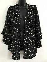 EX DP Bird Print Black Ruffles long Bell Flare Sleeve Blouse Wrap Top Size 10-20