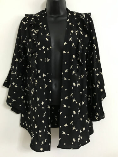 EX DP Bird Print Black Ruffles long Bell Flare Sleeve Blouse Wrap Top Size 10-22