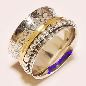925-Sterling-Silver-Spinner-Ring-Wide-Band-Meditation-Statement-Jewelry-GS9247