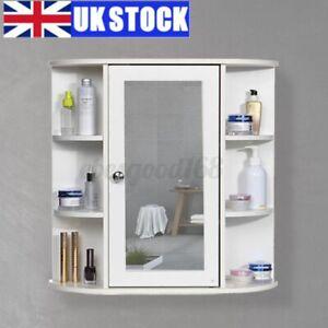 Large White Bathroom Cabinet Wall Mounted Single Mirrored Door Storage Cupboard Ebay