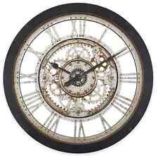 "Black Antique Gear Wall Clock Quartz Large 22"" Rustic Home Art Vintage Charm New"