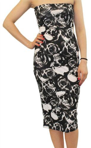 Damen Trägerlos Boobtube Bodycon Midi Kleid Gedruckt Bandeau Blumen Kleid 36-50