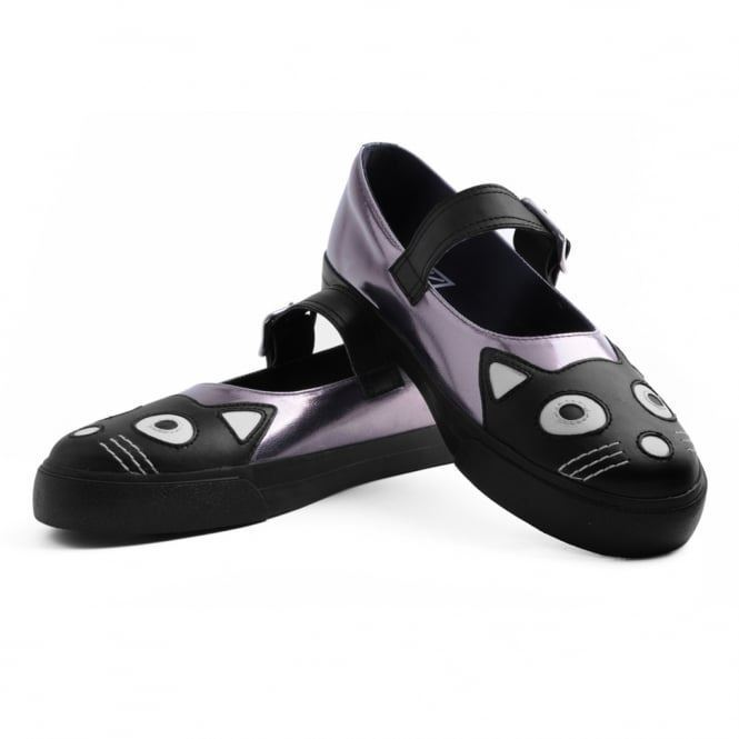T.U.K. Kitty Cat Face Tail Graphite Metallic Vulcanized Mary Jane Sneaker Schuhes