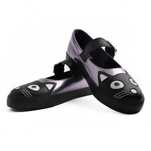 T-U-K-Kitty-Cat-Face-Tail-Graphite-Metallic-Vulcanized-Mary-Jane-Sneaker-Shoes