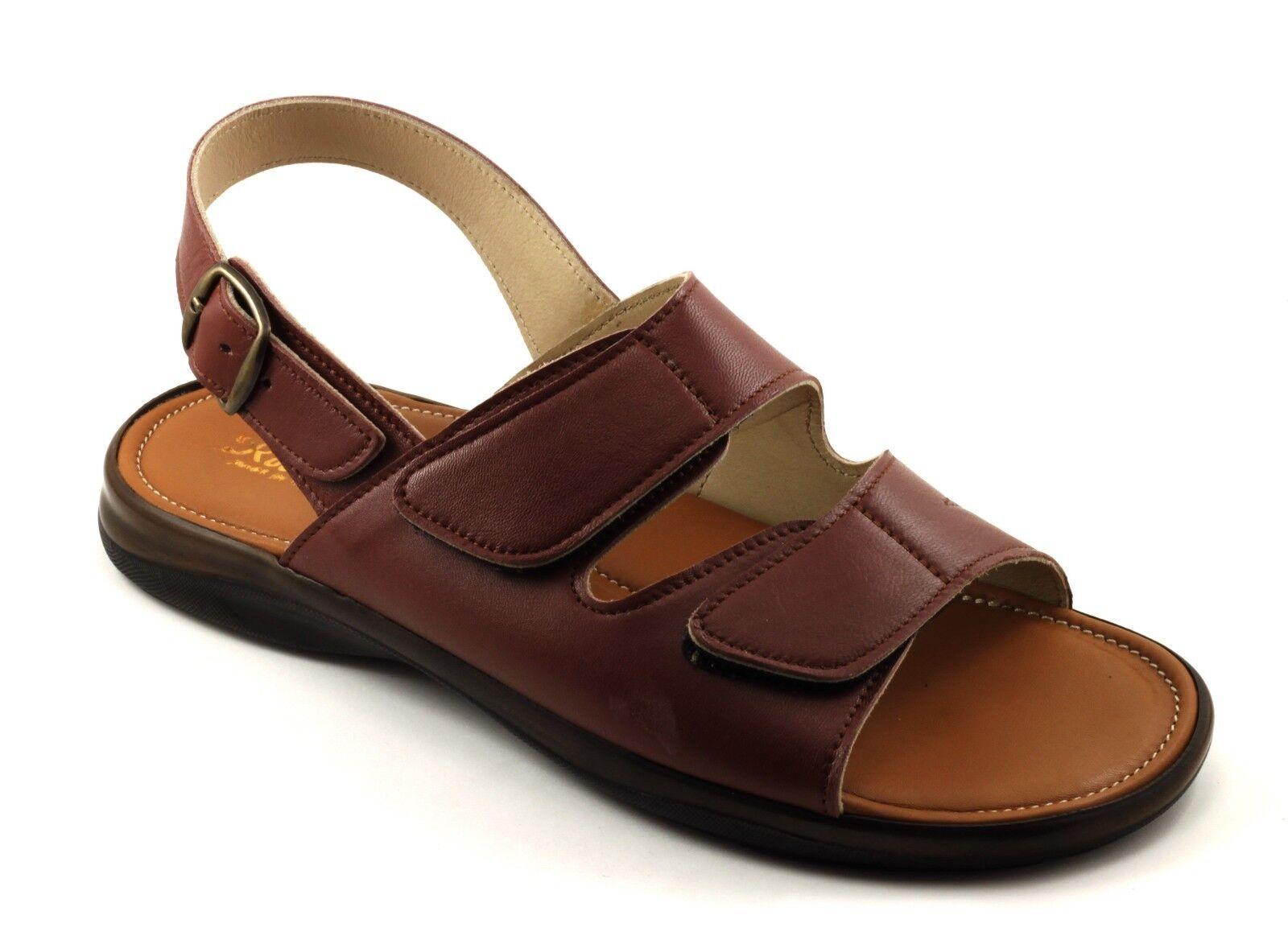 Herren Sandalen aus Leder braun doppelt reißen und weich plantar n. 42