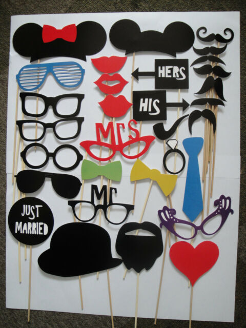 Photo Props-31pcs Glasses Mustache on a Stick for Wedding or Party Photography