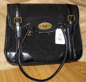 Image Is Loading Black Purse Jeffrey Banks Quilted Satchel Designer Handbag