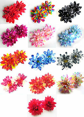 "(2pcs) Silk Dahlia 4"" - Artificial Flower Heads - Fabric - Wedding decoration"