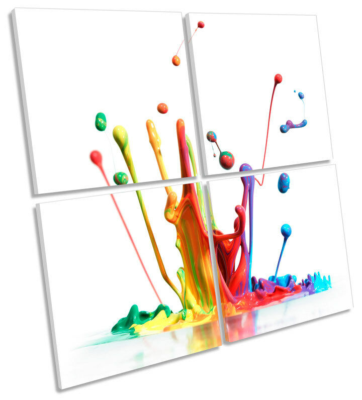 Rainbow Paint Splash MULTI CANVAS WALL ART Square Print