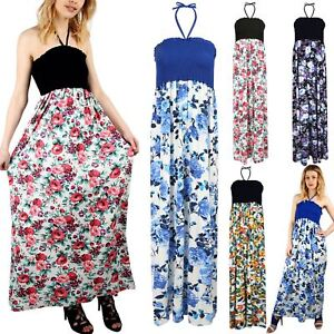 7ba8637e5c Image is loading Women-Ladies-Floral-Printed-Gathered-Bandeau-Boobtube-Tie-