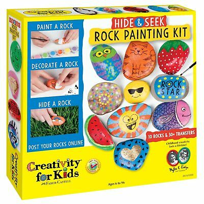 Rock Painting Kit Hide Seek Waterproof Paint Colors Stickers Outdoor Creativity