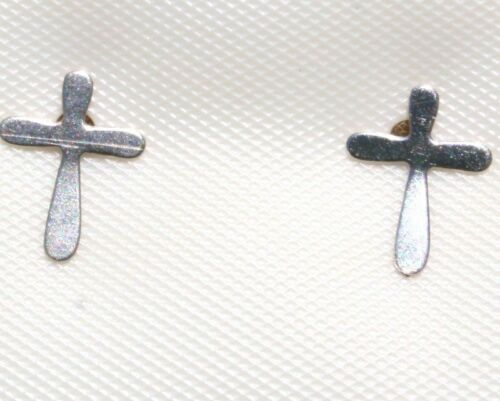 925 SMALL CROSS STUDS VINTAGE GORGEOUS STERLING SILVER  EARRINGS