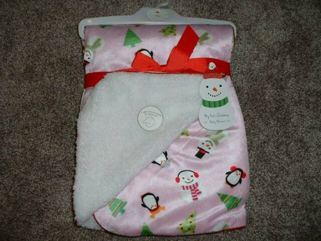 Baby Blanket Snow Fun Girl Infant Holiday NWT NEW Pink Sherpa My First Christmas