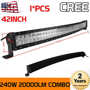 """240W 42/"""" Curved Combo Offroad Work LED Light Bar Driving UTE SUV 4WD Boat Truck"""