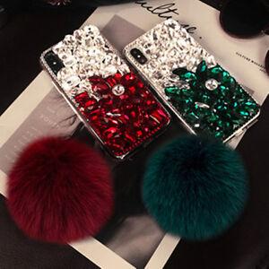 f829875b0b7 3D Luxury Fur ball pendant bling diamonds crystal rhinestone phone ...
