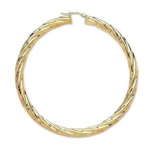 Image Is Loading Large Pair Of 9ct Yellow Gold 60mm Twisted