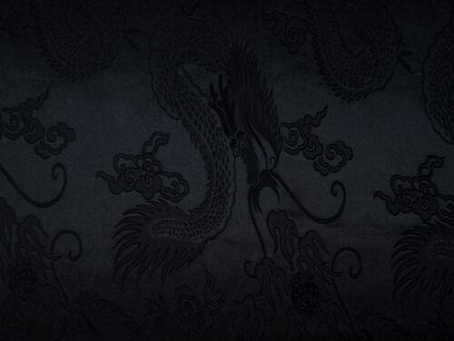 China Drache Dekostoff schwarz 144 cm breit Meterware