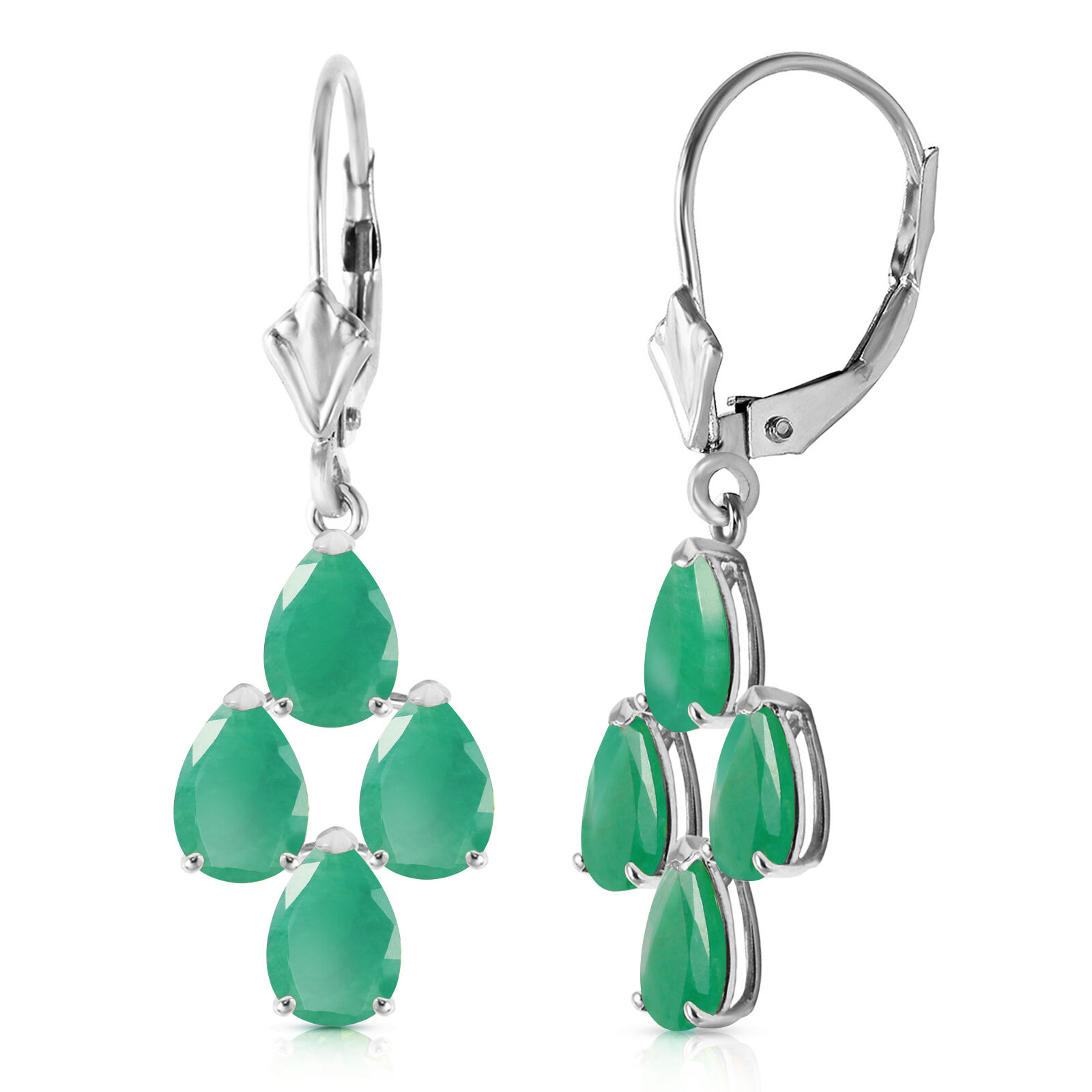 4.5 Carat 14K Solid White gold Gazelle Emerald Earrings