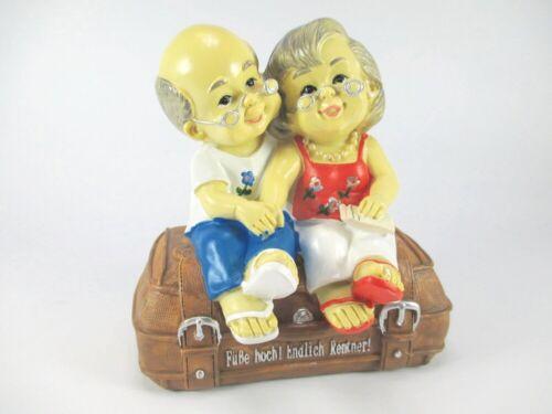 Spardose Rentnerpaar Rente Sparschwein 16 cm,Money Box Bank