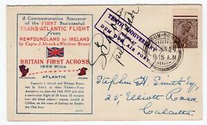 India 1929 Anniversary of Alcock Brown Airmail - Pilot Signed FFC Cachet Cover