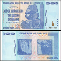 Zimbabwe 100 Trillion Dollar Banknote, 2008, AA Series, NEW