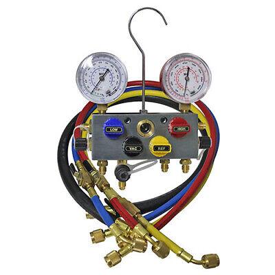 Mastercool 96336 4-Way 3//8 B//V Manifold w//3-1//4 hoses