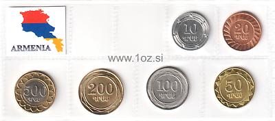 Armenia set of 6 coins 10-500 dram 2003-2004 UNC