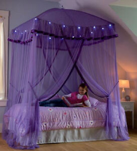 Image is loading Lighted-Bed-Canopy-Sparkling-Lights-Kids-Girls-Princess- & Lighted Bed Canopy Sparkling Lights Kids Girls Princess Children ...