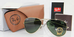 ray ban aviator rb3025 l0205  NEW REAL Ray Ban Aviator RB3025 L0205 all size Gold Frame Green G ...