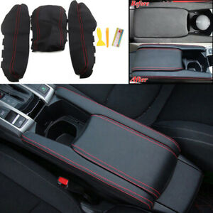 3-X-PU-Leather-Center-Armrest-Box-Case-Cover-Trim-For-Honda-Civic-2016-2017-2018