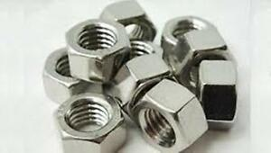 Stainless Steel Finish Hex Nuts NC 3/8-16, QTY-100