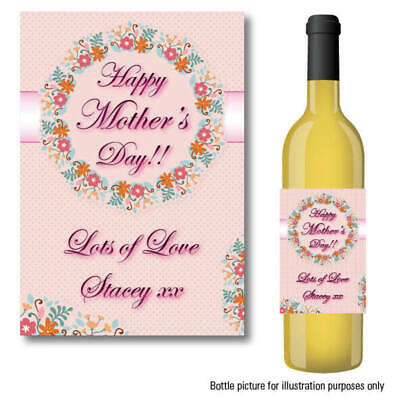 PERSONALISED HAPPY MOTHERS DAY WINE PROSECCO BOTTLE LABEL GIFT IDEA STICKER 060