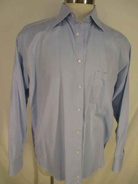 Canali Mens Blue Long Sleeve Cotton Dress Shirt 43 17-35 Italy Made
