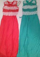 Btween Girl Crochet Maxi Dress Holiday Fancy Size 7 8 10 12 Coral Mint Green