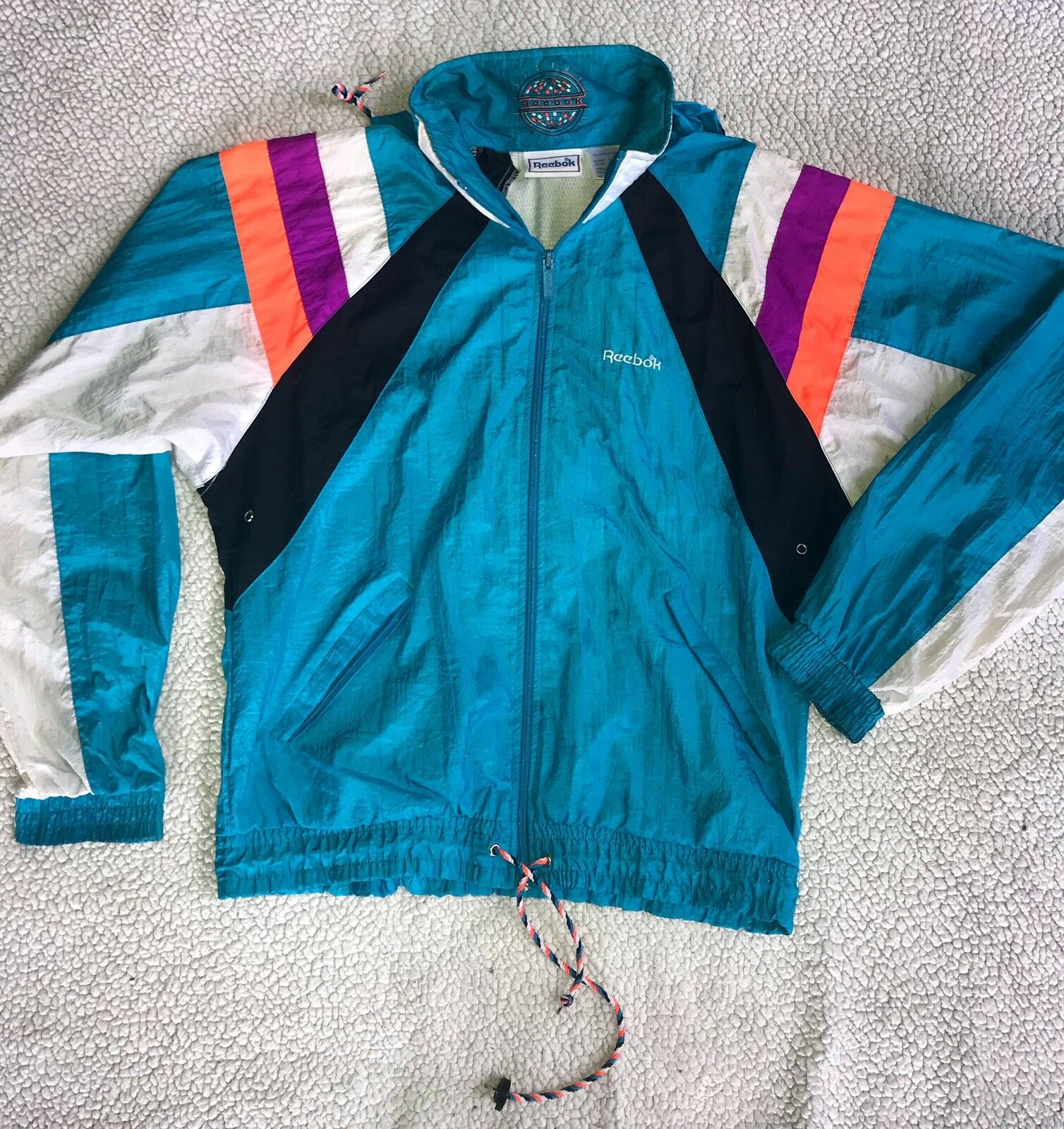 VTG REEBOK GLOBAL COMPETITION WINDBREAKER WOMANS SIZE SMALL TEAL TEAL TEAL STRIPED 90s 004d47