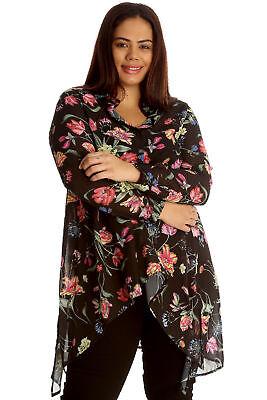 Damen Bluse Größe 46 48 50 52 54 Übergröße Tunika Blusen T Shirt Blumenmuster 86