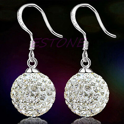 SILVER Plated Womens BALL Bridal Dangle EARRINGS CRYSTAL Jewelry Zirconia AAA