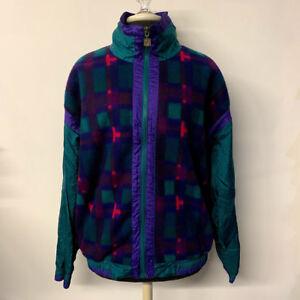 VTG-Plaid-Fleece-Zip-Front-Windbreaker-Jacket-90s-Green-Purple-Womens-Size-XL