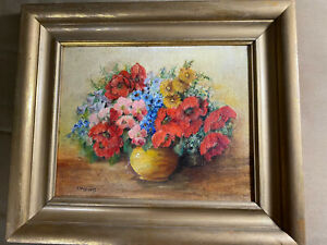 Vintage-A-M-Storey-034-Still-Life-With-Flowers-Scene-034-Oil-Painting-Signed-Framed
