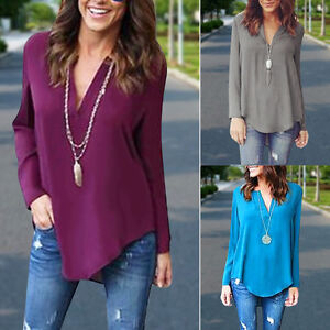 Fashion-Women-Summer-Casual-V-Neck-Long-Sleeve-Chiffon-T-Shirt-Loose-Tops-Blouse